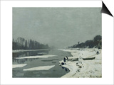 Ice Floes on the Seine at Bougival, Around 1867 Art by Claude Monet