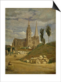 Chartres Cathedral, 1830 Posters by Jean-Baptiste-Camille Corot