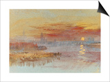 Sunset on Rouen Posters by J. M. W. Turner