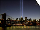 The Tribute of Light Memorial Shines into the Sky Over the Night Skyline of New York City Prints