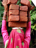 An Indian Woman Construction Worker Stacks Bricks on Her Head Posters
