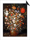 Big Flower Bouquet in a Wooden Vessel Print by Jan Brueghel the Elder