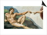The Sistine Chapel; Ceiling Frescos after Restoration, the Creation of Adam Poster by  Michelangelo Buonarroti