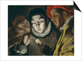 Fabula, Around 1600, a Boy Lights a Candle, as a Monkey and a Bearded Figure Watch Prints by  El Greco