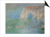 Etretat, the Cliff, Reflections on Water; 1885 Prints by Claude Monet