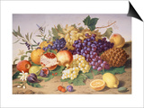 Still Life of Grapes, Pineapple, Figs and Pomegranates Prints by Adolf Senff