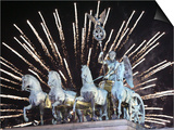 New Year's Fireworks above the Quadriga at the Brandenburg Gate in Berlin, Germany, c.2007 Prints by Michael Sohn
