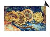Four Cut Sunflowers, 1887 Poster by Vincent van Gogh