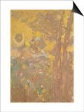 Décoration Domecy : arbres sur fond jaune Prints by Odilon Redon