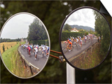 Mirrors at a T-Junction Reflect Riders During the 18th Stage of the Tour De France Posters