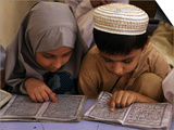 Children Read Together from Muslim's Holy Quran in Karachi, Pakistan Print