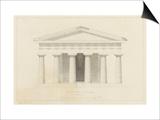 Temple de Paestum : Elévation e la façade restaurée. Côté de l'est Posters by Eugène Viollet-le-Duc