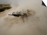 US Marines Return Fire on Taliban Positions Near the Town of Garmser in Afghanistan Print