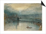 Lucerne by Moonlight: Sample Study, Circa 1842-3, Watercolour on Paper Prints by J. M. W. Turner