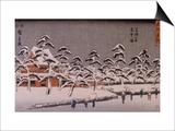 Vue d'un temple sous la neige Posters by Ando Hiroshige