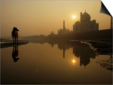 Stray Dog on a Sand Bank of the Yamuna River as the Sun is Seen Rising over the Taj Mahal in India Prints