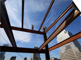 Ironworker Walks a Beam Above the 24th Floor of One World Trade Center in New York Prints