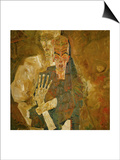 Death and Mann, Tod Und Mann or Selbstseher (II) Print by Egon Schiele