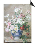 Still Life of Anemones and Roses in a Blue and White Vase Prints by Francois Rivoire