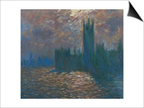 London, the Parliament; Reflections on the Thames River, 1899-1901 Prints by Claude Monet