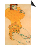 Woman Undressing, 1914 Prints by Egon Schiele