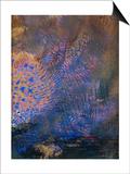 Fantaisie : éclatement orange et bleu, sur fond sombre Prints by Odilon Redon