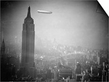 The Zeppelin Hindenburg Floats Past the Empire State Building Prints