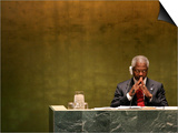 United Nations Secretary General Kofi Annan Listens to Statements Made by Members Prints by Julie Jacobson