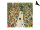 Gardenpath with Hens, 1916 Poster by Gustav Klimt