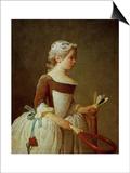 A Girl with Shuttlecock, 1737 Print by Jean-Baptiste Simeon Chardin