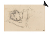 Woman Sleeping, Right Cheek Resting on the Left Hand Print by Henri de Toulouse-Lautrec