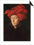 A Man in a Red Turban (Self-Portrait of Jan Van Eyck), 1433 Print by  Jan van Eyck