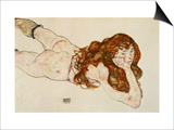 Female Nude on Her Stomach, 1917 Art by Egon Schiele