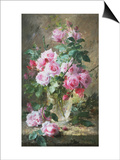 Still Life of Pink Roses in a Glass Vase Posters by Frans Mortelmans