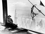 A Steel Worker Rests on a Girder at the 86th Floor of the New Empire State Building Posters