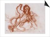 Etudes de deux chevaux mordant pour Diomède Prints by Gustave Moreau