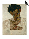 Egon Schiele, Self-Portrait with Bent Head, Study for Eremiten (Hermits) Prints by Egon Schiele