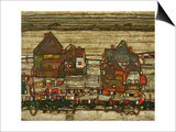 Two Blocks of Houses with Cloth Lines or the Suburbs (II), 1914 Posters by Egon Schiele
