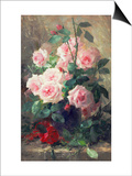 Still Life of Pink Roses Art by Frans Mortelmans