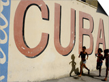 Cuban Girls Run in a Street in Havana, Cuba, Thursday, August 10, 2006 Posters by Javier Galeano