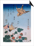 Hirondelle et pie sur fraisier et bégonia Art by Katsushika Hokusai