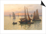 Breton Fishing Boats at Sunset Poster by Louis Timmermans