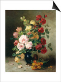Still Life of Roses and Wallflowers Art by Eugene Henri Cauchois