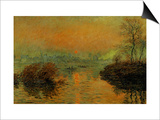 Setting Sun on the Seine at Lavacourt, Effect of Winter, 1880 Print by Claude Monet