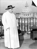 Pope John XXIII on the Terrace of a IX-Century Tower in the Vatican Gardens April 15, 1963 Poster