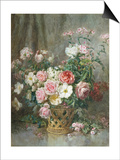 Still Life of Roses, Anemones and Phlox in a Basket Posters by Francois Rivoire