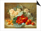 Still Life of Summer Fruit and Peach Roses Prints by Eloise Harriet Stannard