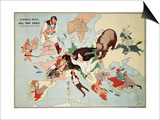 Satirical Map - European Revue - Kill That Eagle Prints