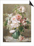 Still Life of Peonies and Roses Art by Francois Rivoire