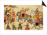 Shah Jahan Mounted on an Elephant with His Retinue Print